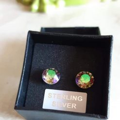 Sterling silver earrings set with Swarovski crystals