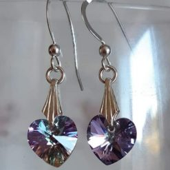 A beautiful pair of sterling silver Swarovski crystal heart earrings
