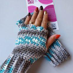 Handmade crocheted fingerless gloves. Turquoise/neutral
