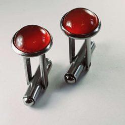 Silver plated cufflinks featuring semi precious gemstone cabochons