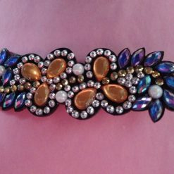 Diamond painting blue, orange and silver Hair Slide with special shaped gems