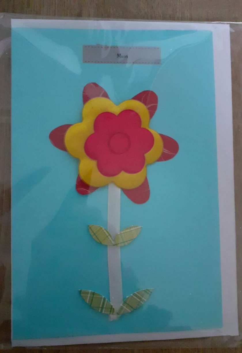 Mum red and yellow flower card 1