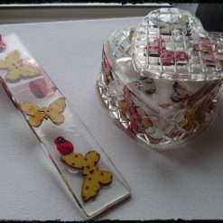 Butterfly trinket box and bookmark set