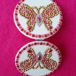 Diamond painting round compact handbag mirror with pink and gold butterfly 1