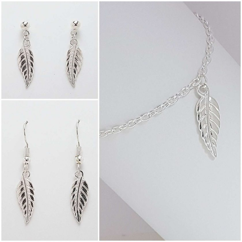 -Feather Leaf Bracelet, Earrings Jewellery Collection 1