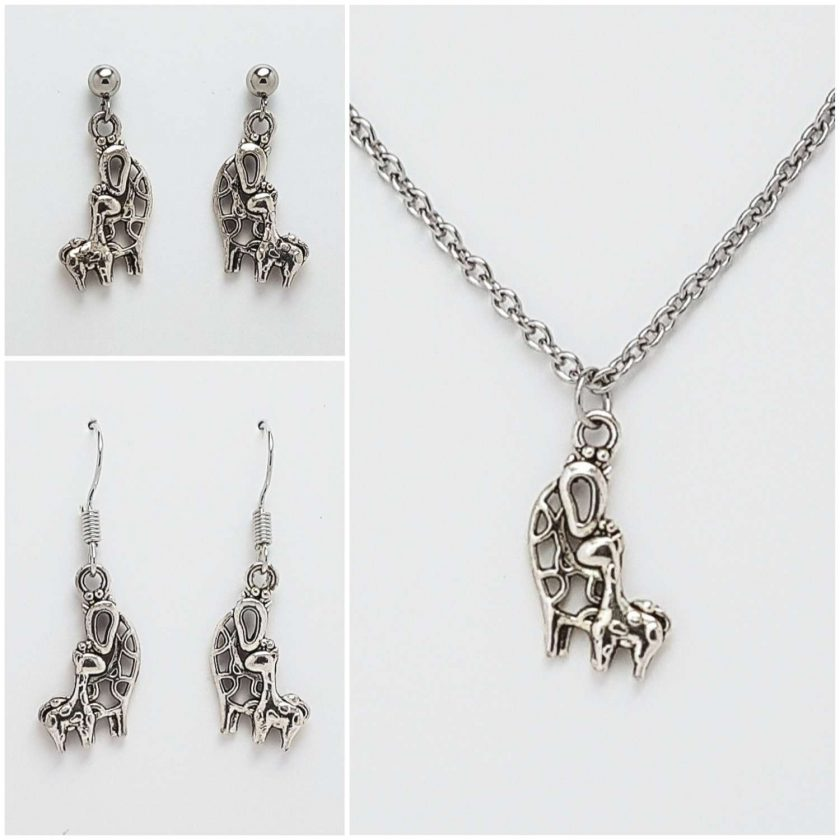 -Giraffe Mother & Baby Necklace, Earrings Jewellery Gift Set Collection 1