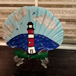 Hand painted red/white lighthouse scallop shell (Copy)