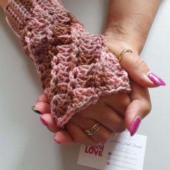 Handmade crocheted patterned fingerless gloves. ??