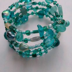 Emerald, Jade and Ice Blue Colour Beaded Memory Wire Bracelet