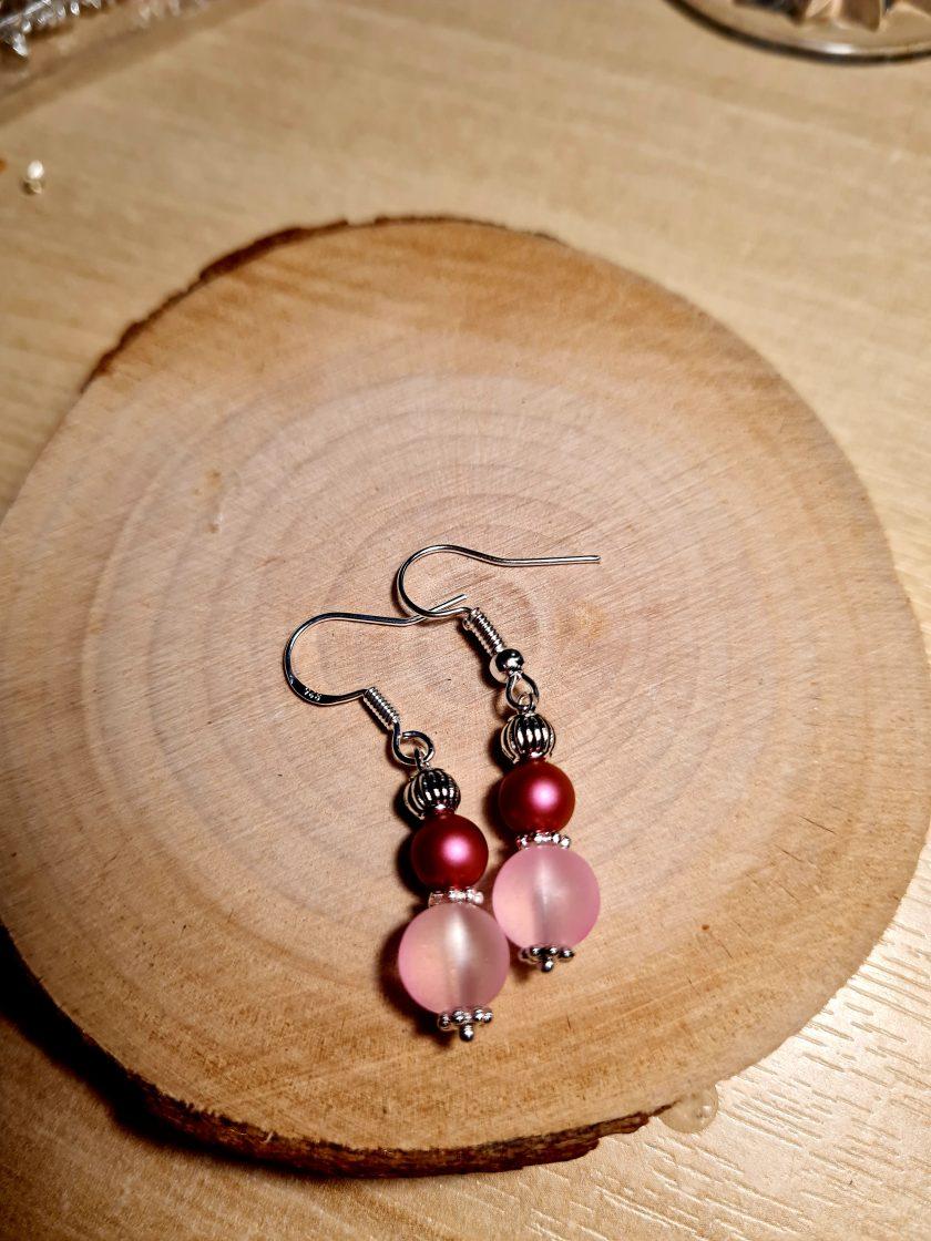 Swarovski pearl & frosted glass earrings 3