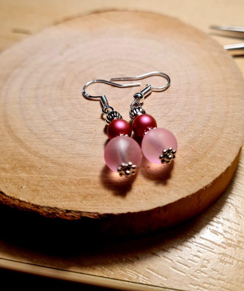 Swarovski pearl & frosted glass earrings 4