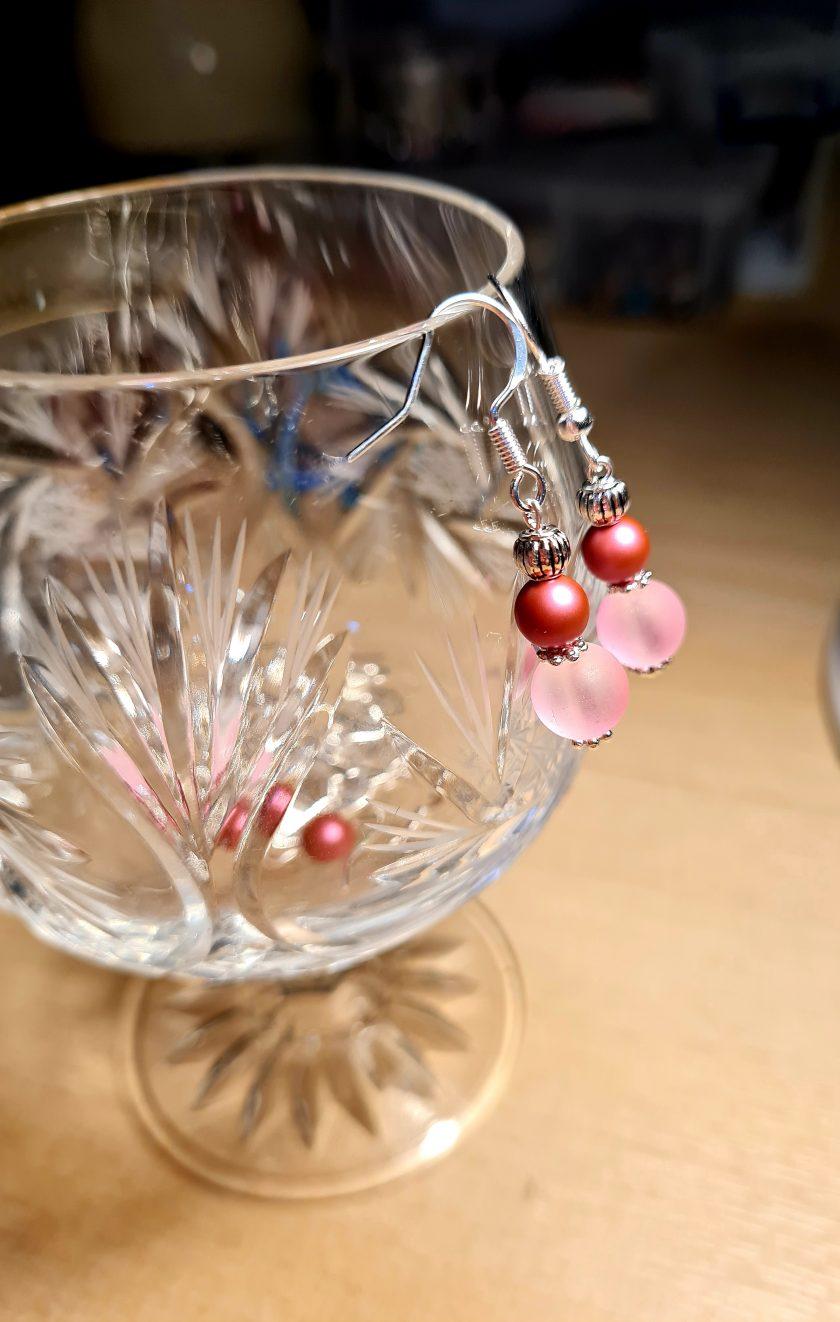 Swarovski pearl & frosted glass earrings 1