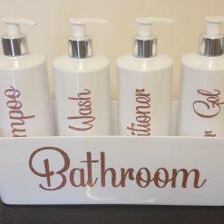 Hinch style pump bottles bathroom set.