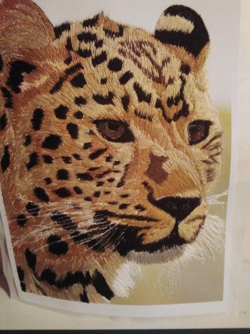 amur leopard thread painting. Artwork. Home decore 3