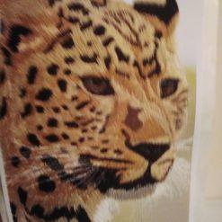 amur leopard thread painting. Artwork. Home decore 5