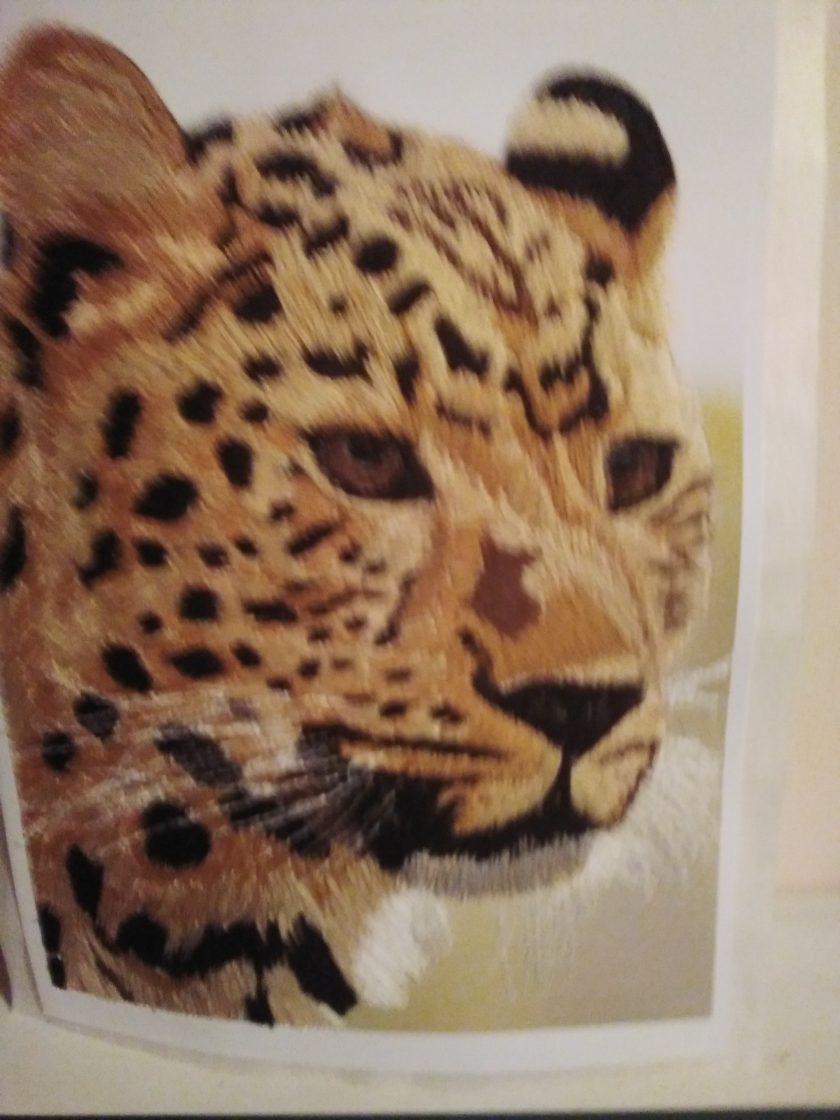 amur leopard thread painting. Artwork. Home decore 2
