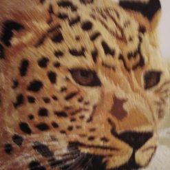 amur leopard thread painting. Artwork. Home decore