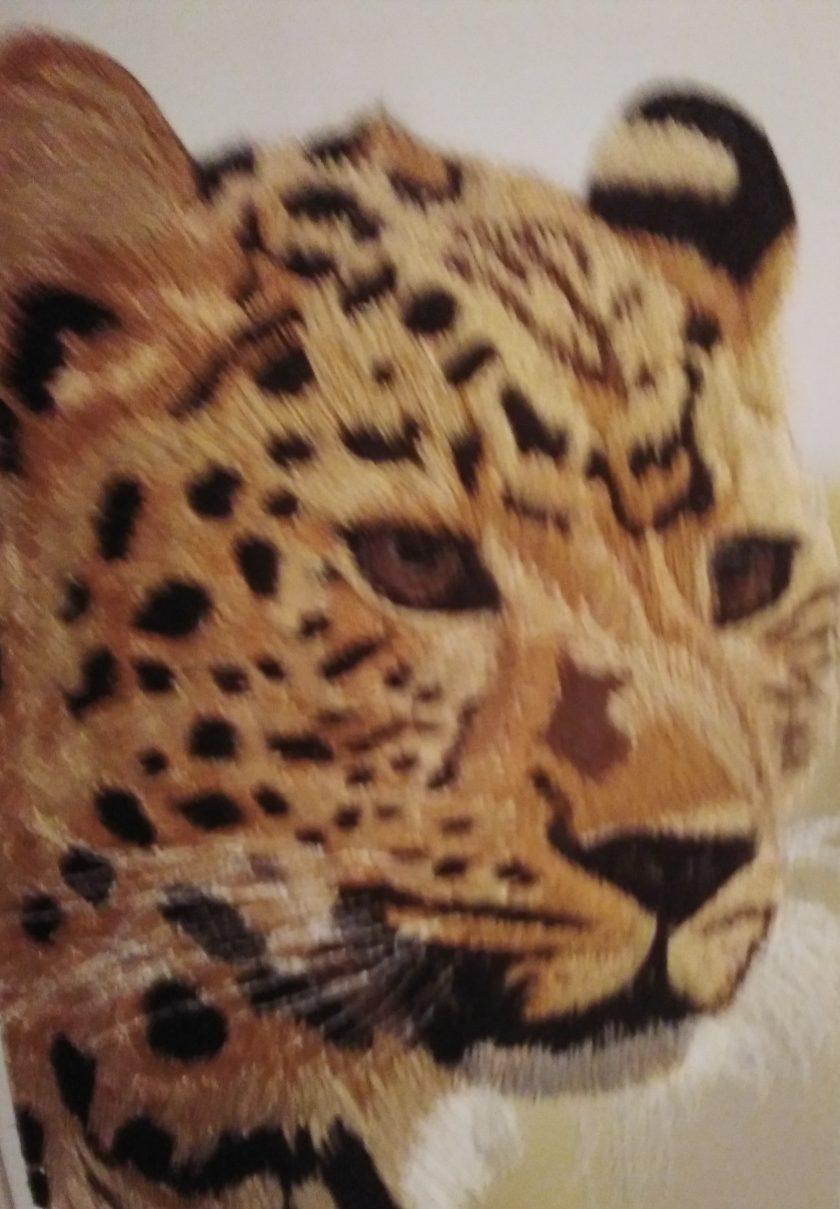 amur leopard thread painting. Artwork. Home decore 1
