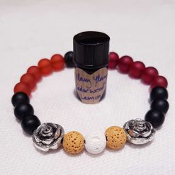 Masculine Stretchy Lava Stone, Frosted Transparent Glass Beads and Silver Alloy Spacer Beads Bracelet with Essential Oil no2