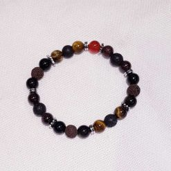 Masculine Stretchy Lava Stone, Gemstone Chakra and Silver Alloy Spacer Beads Bracelet with Essential Oil