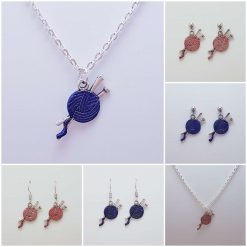 -Individually Priced- Knitting Wool Necklace, Earrings Jewellery | Tibetan Silver Charm Birthday Christmas Mothers Mother's Day Valentine Anniversary Easter Gifts Gift Ideas