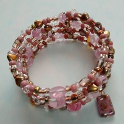 Dusky Pink and Gold/Brown Coloured Memory Wire Bracelet