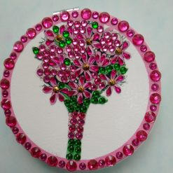 Diamond painting round compact handbag mirror with pink and green bouquet of flowers