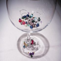 Stem Glass Charms with Crystal Birthstones - Set of 6