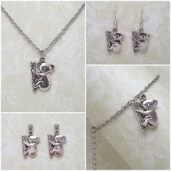-Individually Priced- Koala Bear, Necklace, Earrings, Bracelet, Jewellery | Tibetan Silver Charm Birthday Christmas Mothers Mother's Day Valentine Anniversary Easter Gifts Gift Set Ideas