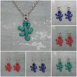 -Individually Priced- Gecko, Necklace, Earrings JewellerySet| Tibetan Silver Charm Birthday Christmas Mothers Mother's Day Valentine Anniversary Easter Gifts Lizard Gift Set Ideas