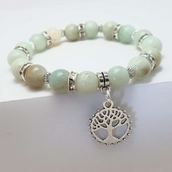 -Natural Amazonite- Tree of Life Charm Bead Gemstone Stretch Bracelet (one off) | Tibetan Silver Birthday Christmas Mothers Mother's Day Valentine Anniversary Easter Jewellery Gifts Gift Ideas