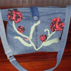 Hand-made fully lined denim bag