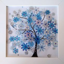 Framed Diamond Painting Special Gems Blue 'Winter' Blossom Tree Picture