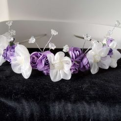 Ivory and lilac flower hairband
