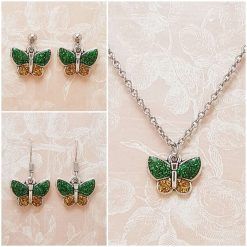 -Individually Priced- Butterfly (Green) Necklace, Earrings, JewellerySet | Tibetan Silver Charm Birthday Christmas Mothers Mother's Day Valentine Anniversary Easter Gifts GiftSet Ideas