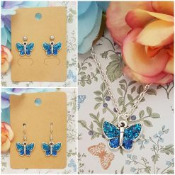 -Individually Priced- Butterfly (Blue) Necklace, Earrings, JewellerySet | Tibetan Silver Charm Birthday Christmas Mothers Mother's Day Valentine Anniversary Easter Butterflies Gifts Gift Set Ideas