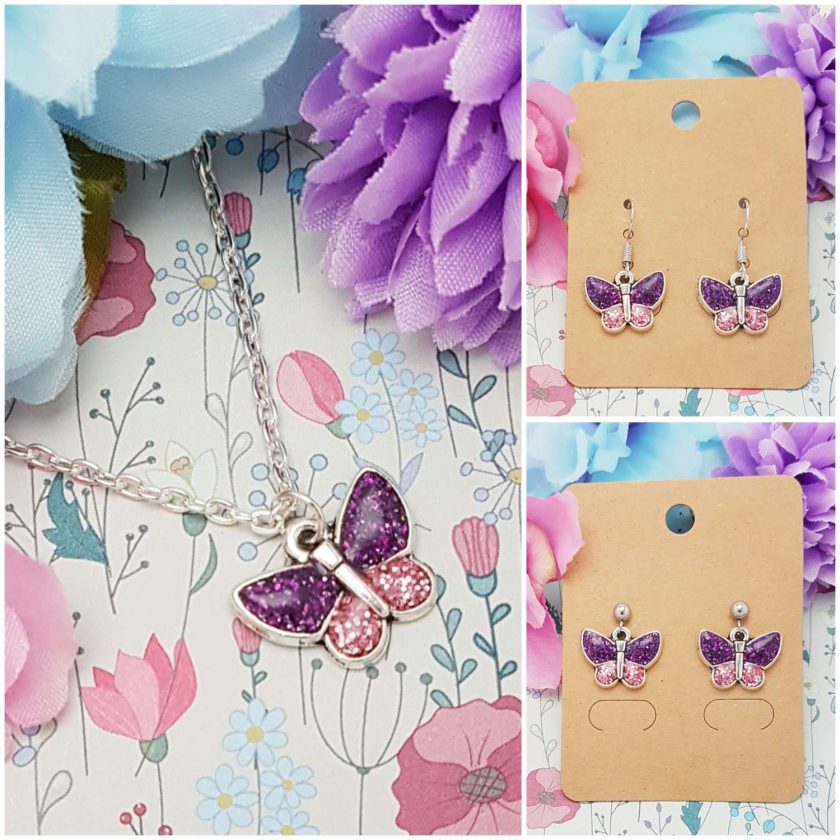 -Individually Priced- Butterfly (Purple) Necklace, Earrings, JewellerySet | Tibetan Silver Charm Birthday Christmas Mothers Mother's Day Valentine Anniversary Easter Lavender Butterflies Gifts Gift Set Ideas