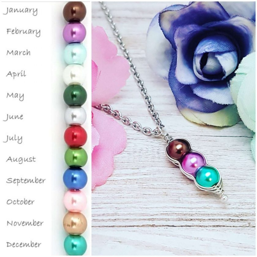 -Birthstone Family- Peas in Pod Necklace| Personalised Birthday Christmas Mothers Mother's Day Valentine Anniversary Easter Pea Jewellery Gift Ideas | Charming Gifts