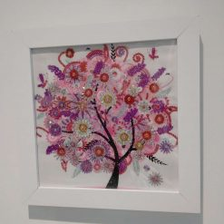 Framed Diamond Painting Special Gems Pink 'Summer' Blossom Tree Picture
