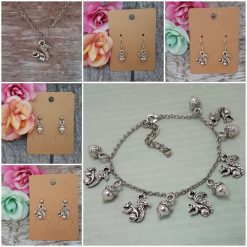 -Individually Priced- Acorns and Squirrels Necklace, Earrings, Bracelet, JewellerySet| Tibetan Silver Charm Birthday Christmas Mothers Mother's Day Valentine Anniversary Easter Gifts Acorn Squirrel Gift Set Ideas