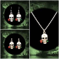 -Individually Priced- Goth Skull Necklace, Earrings Jewellery | Tibetan Silver Charm Birthday Christmas Mothers Mother's Day Valentine Anniversary Easter Gifts Gothic Gift Set Ideas
