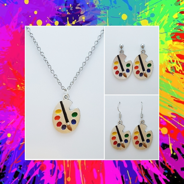 -Individually Priced- Artist Paint Pallet Necklace, Earrings Jewellery   Tibetan Silver Charm Birthday Christmas Mothers Mother's Day Valentine Anniversary Easter Gift Set Ideas   Charming Gifts