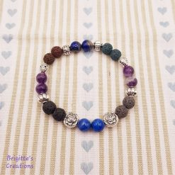 Masculine Stretchy Coloured Lava Stone, Lapis Lazuli & Amethyst Semi-Precious Beads and Silver Alloy Spacer Beads Bracelet with Essential Oil