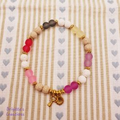 Stretchy Pastel Coloured Lava Stone, Frosted Transparent Glass Beads and Antique Golden Alloy Spacer Beads Anklet with Essential Oil