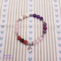 Stretchy Lava Stone, Rose Quartz & Amethyst Semi-Precious and Silver Alloy Spacer Beads Bracelet with Essential Oil