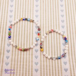 Stretchy Lava Stone, Millefiori Glass Beads and Silver Alloy Spacer Beads Bracelet and Anklet Set with Essential Oil