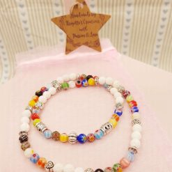Stretchy Lava Stone, Millefiori Glass and Silver Alloy Spacer Beads Necklace with Essential Oil