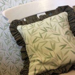 """14"""" ruffled cushion cover in Willow Leaf Hedgerow fabric"""