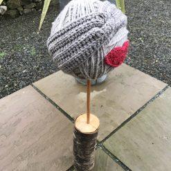 Hand crochet twist Ear Warmer/Headband in light grey