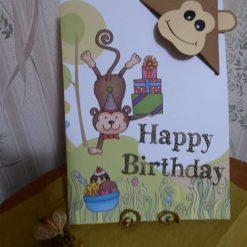 Corner Bookmark Animal Birthday Card - Monkey